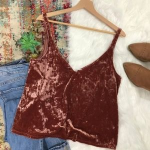 H&M • Crushed Velvet Cropped Tank Top